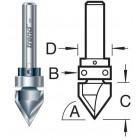11/41X1/2TC V-groeffrees 45° met bovenlager