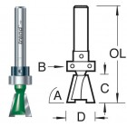 104°x15mm Zwaluwstaartfrees met lager C162AX1/4TC