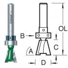 104°x12.7mm Zwaluwstaartfrees met lager C162X1/4TC